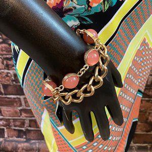 Peach & Gold Chain Link Bracelet